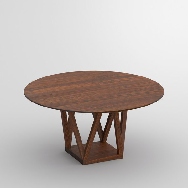 Round Designer Table CREO cam1 custom made in solid wood by vitamin design