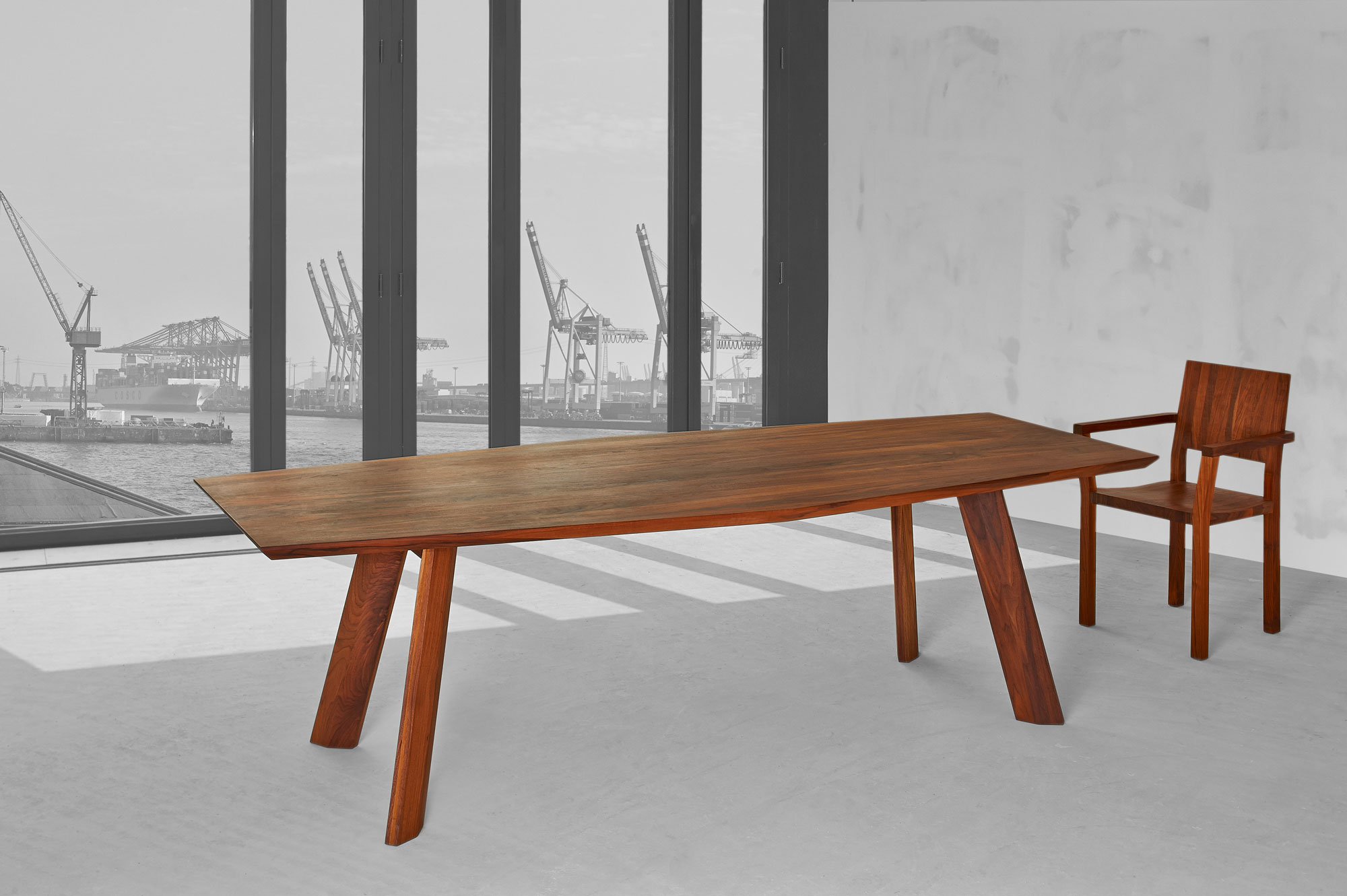 Designer Dining Table RHOMBI 00018 custom made in solid wood by vitamin design