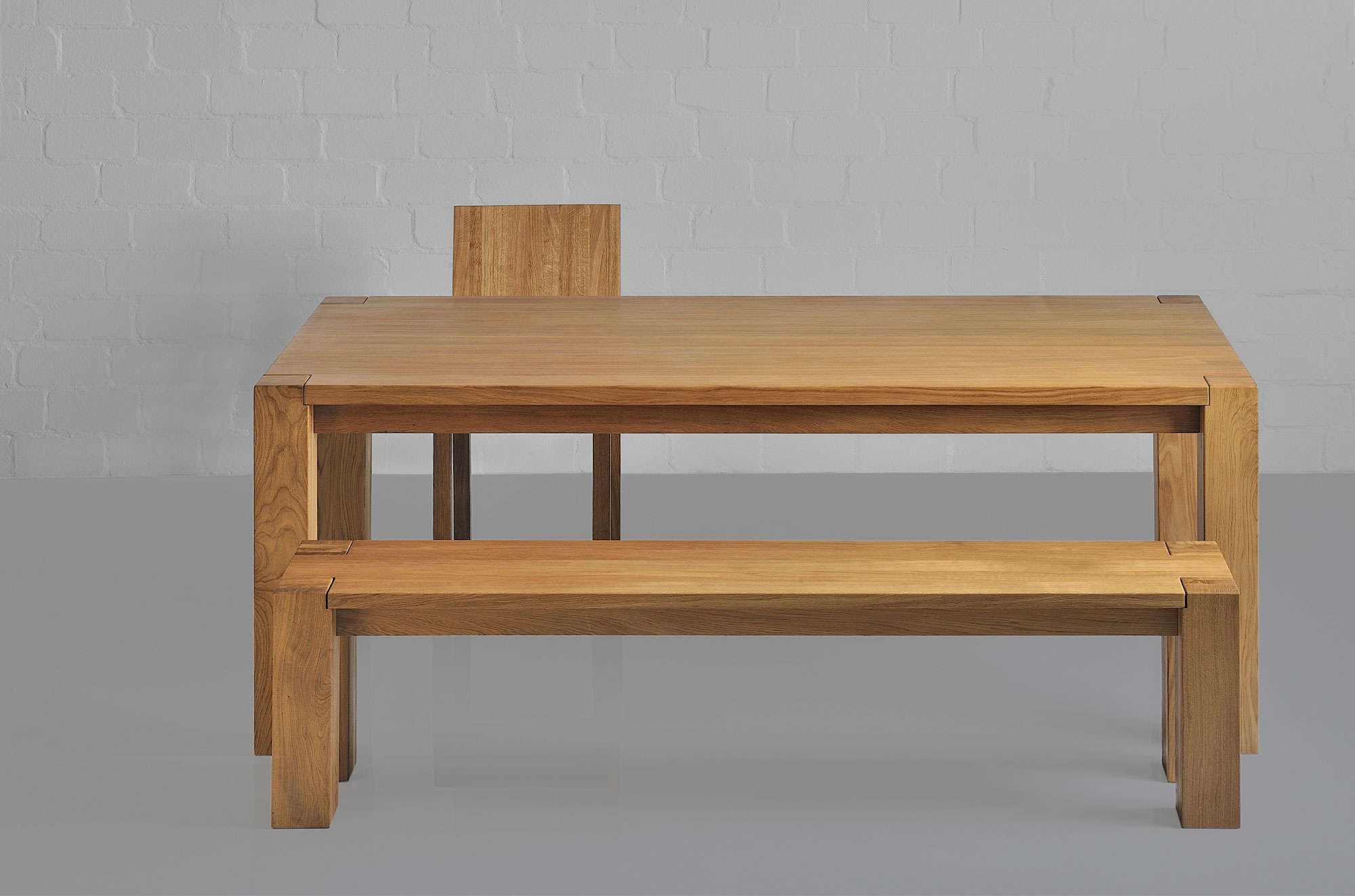Rustic Oak Table TAURUS 4 B11X11 1365 custom made in solid wood by vitamin design