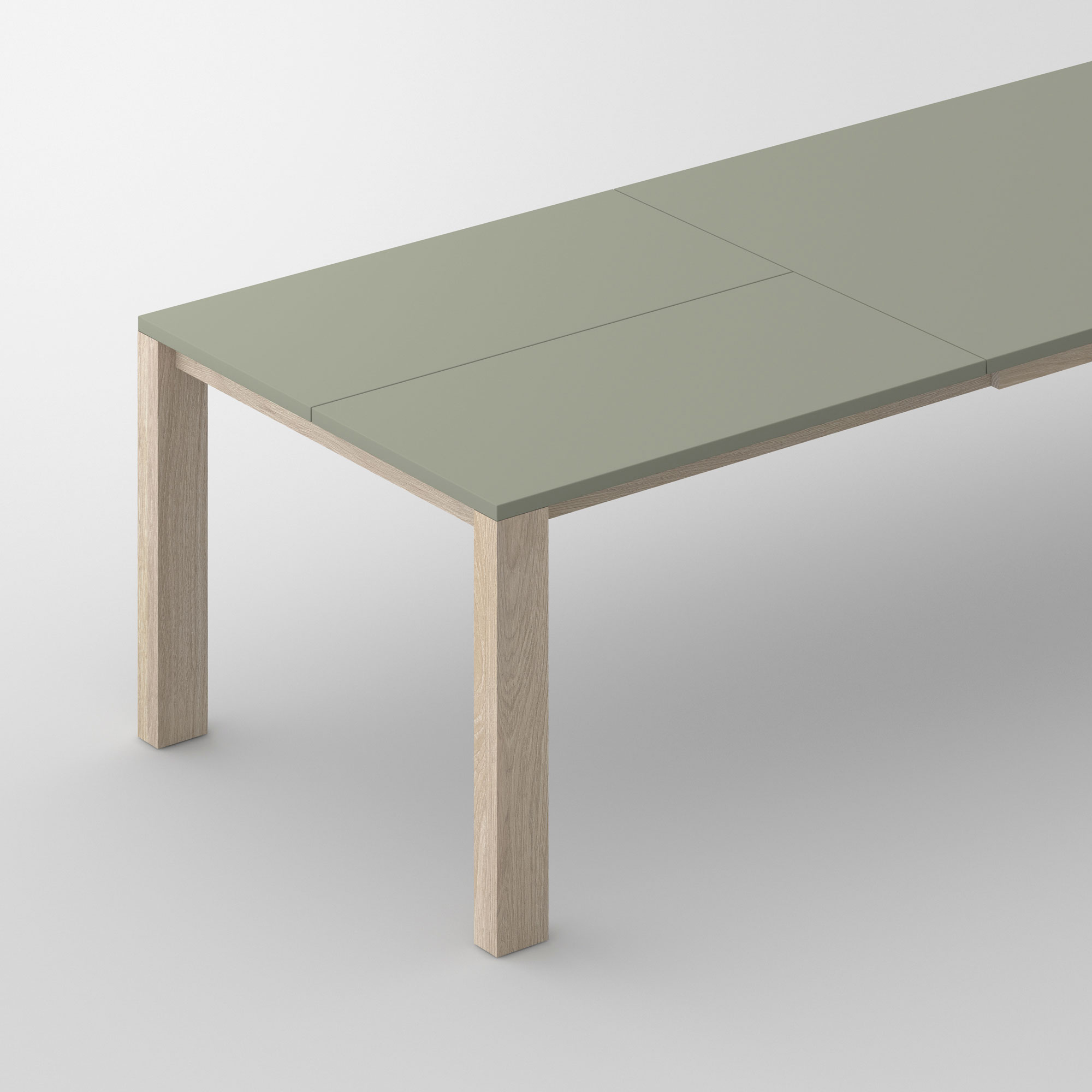 Extensible Linoleum Wood Table VARIUS BUTTERFLY LINO cam2 custom made in solid wood by vitamin design