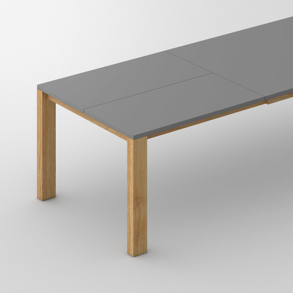 Extensible Linoleum Wood Table VARIUS BUTTERFLY LINO cam2 custom made in Solid oak, oiled by vitamin design