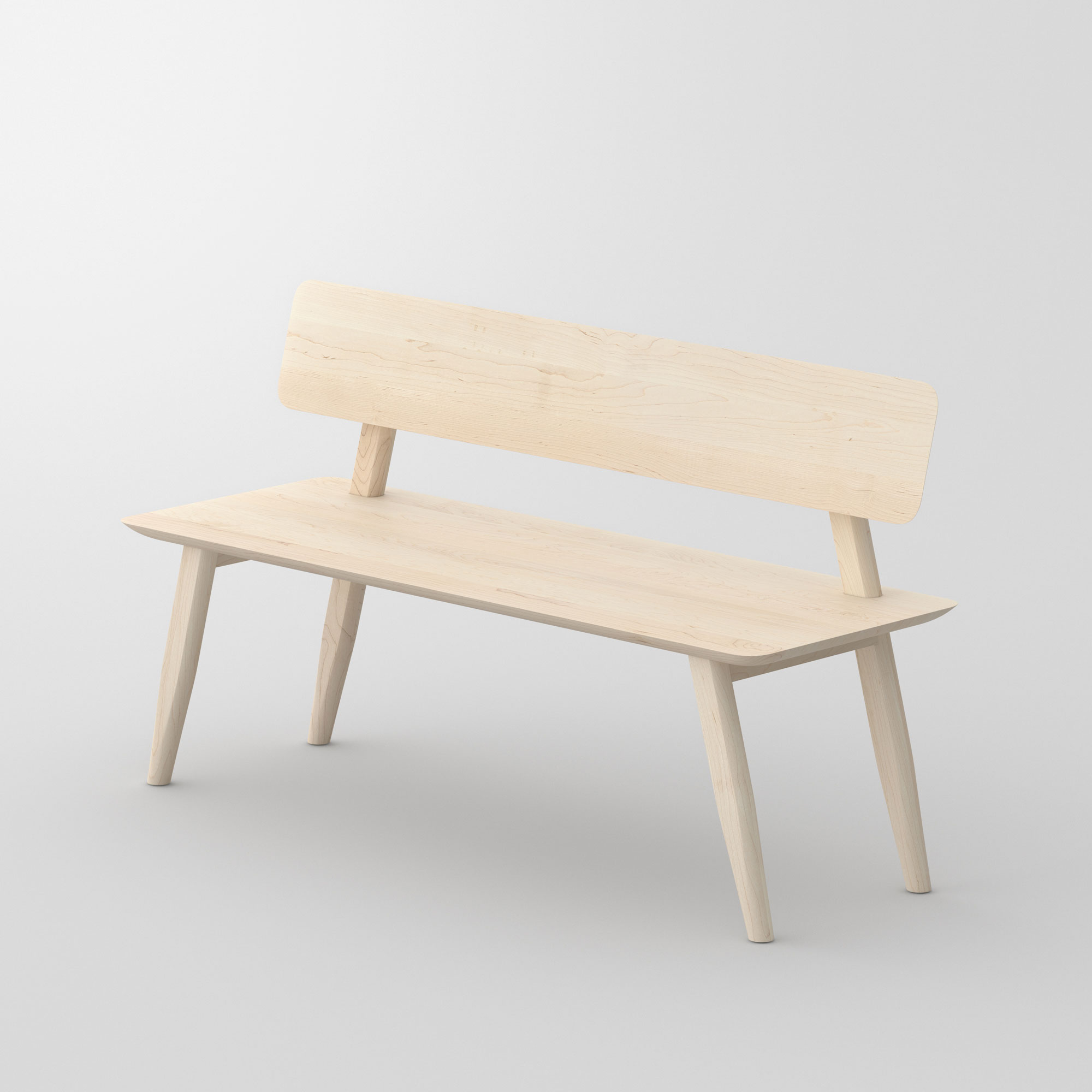Bench with Back AETAS RL cam2 custom made in solid wood by vitamin design