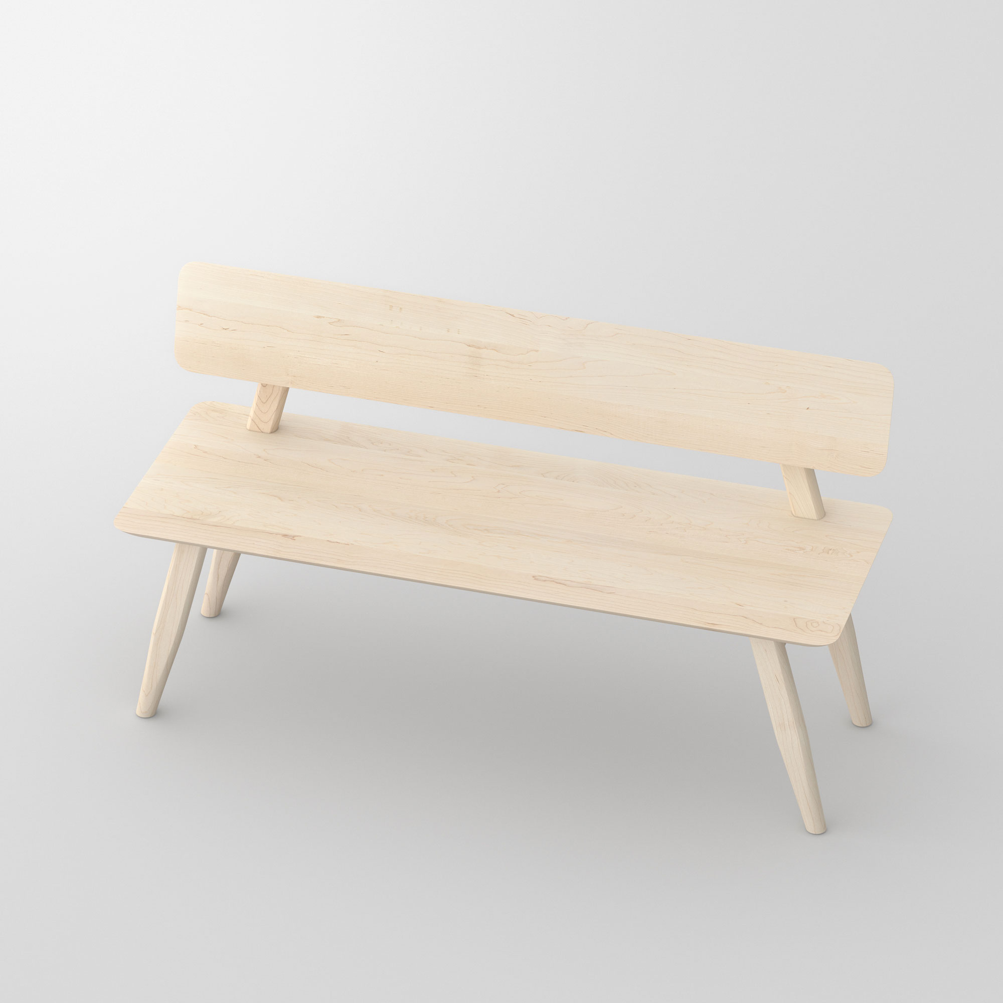 Bench with Back AETAS RL cam3 custom made in solid wood by vitamin design