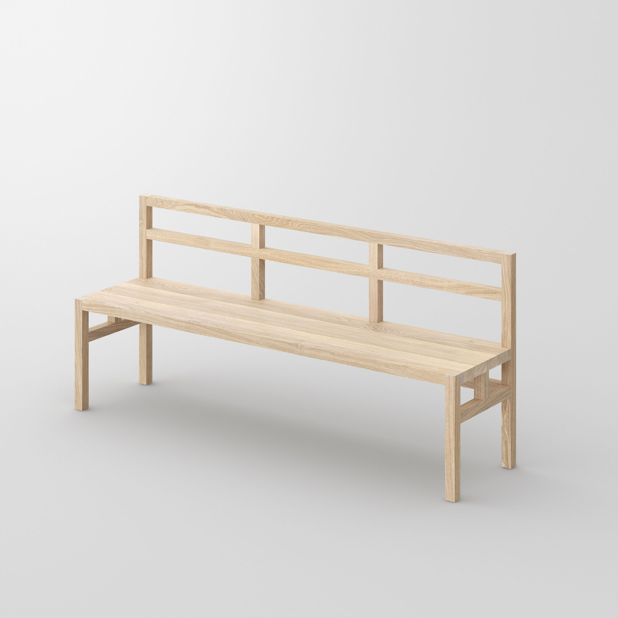 Bench with Backrest SENA RL cam1 custom made in solid wood by vitamin design