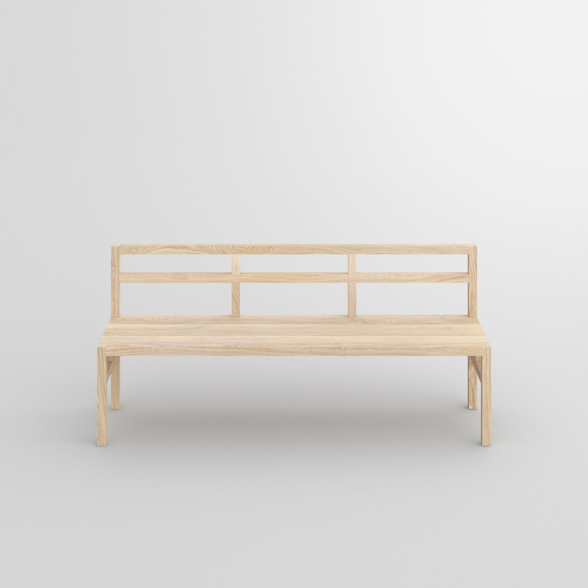 Bench with Backrest SENA RL cam3 custom made in solid wood by vitamin design