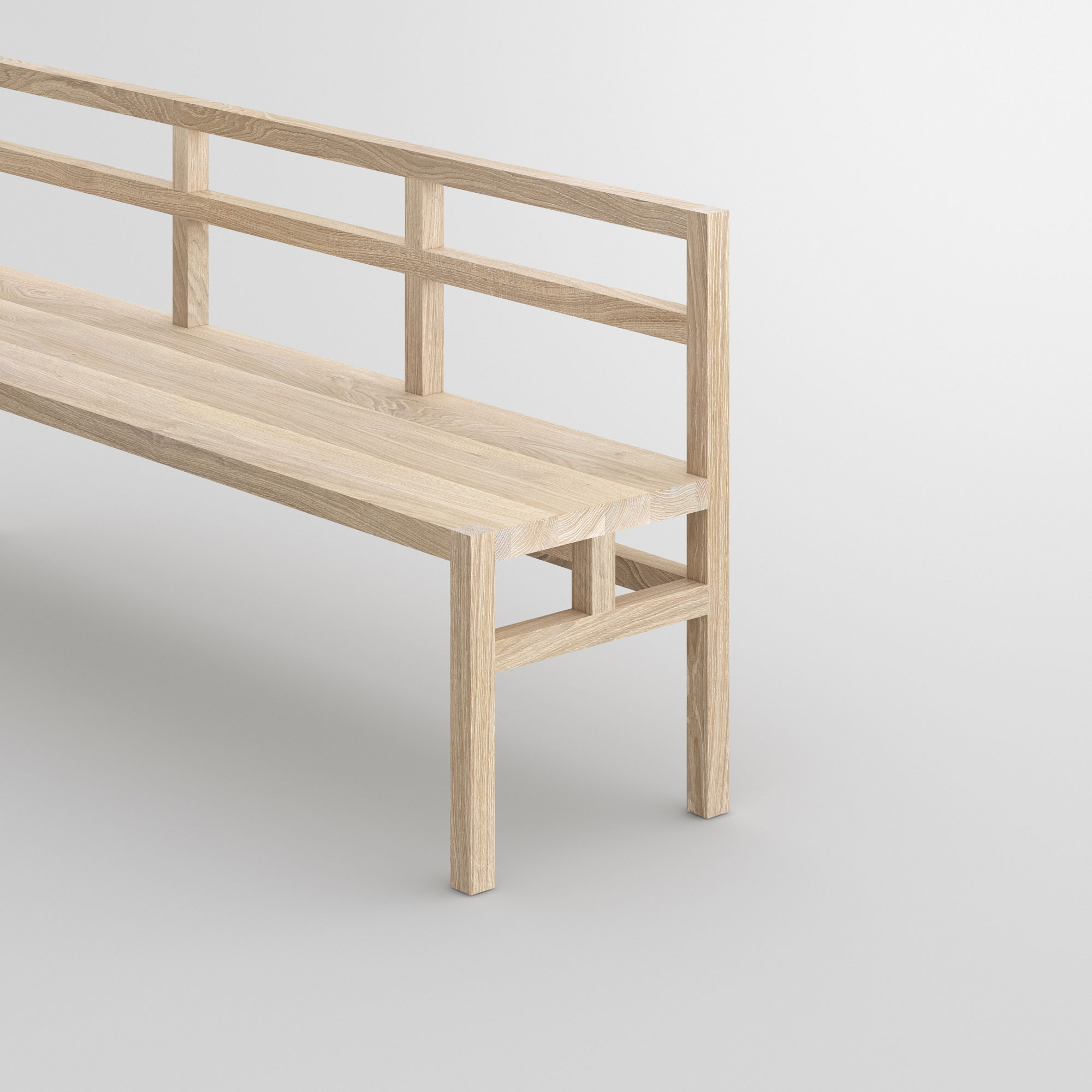 Bench with Backrest SENA RL cam2 custom made in solid wood by vitamin design