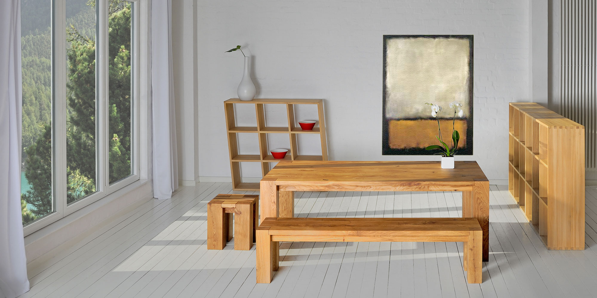 Rustic Solid Wood Bench TAURUS 4 B14X14 4088 custom made in solid wood by vitamin design