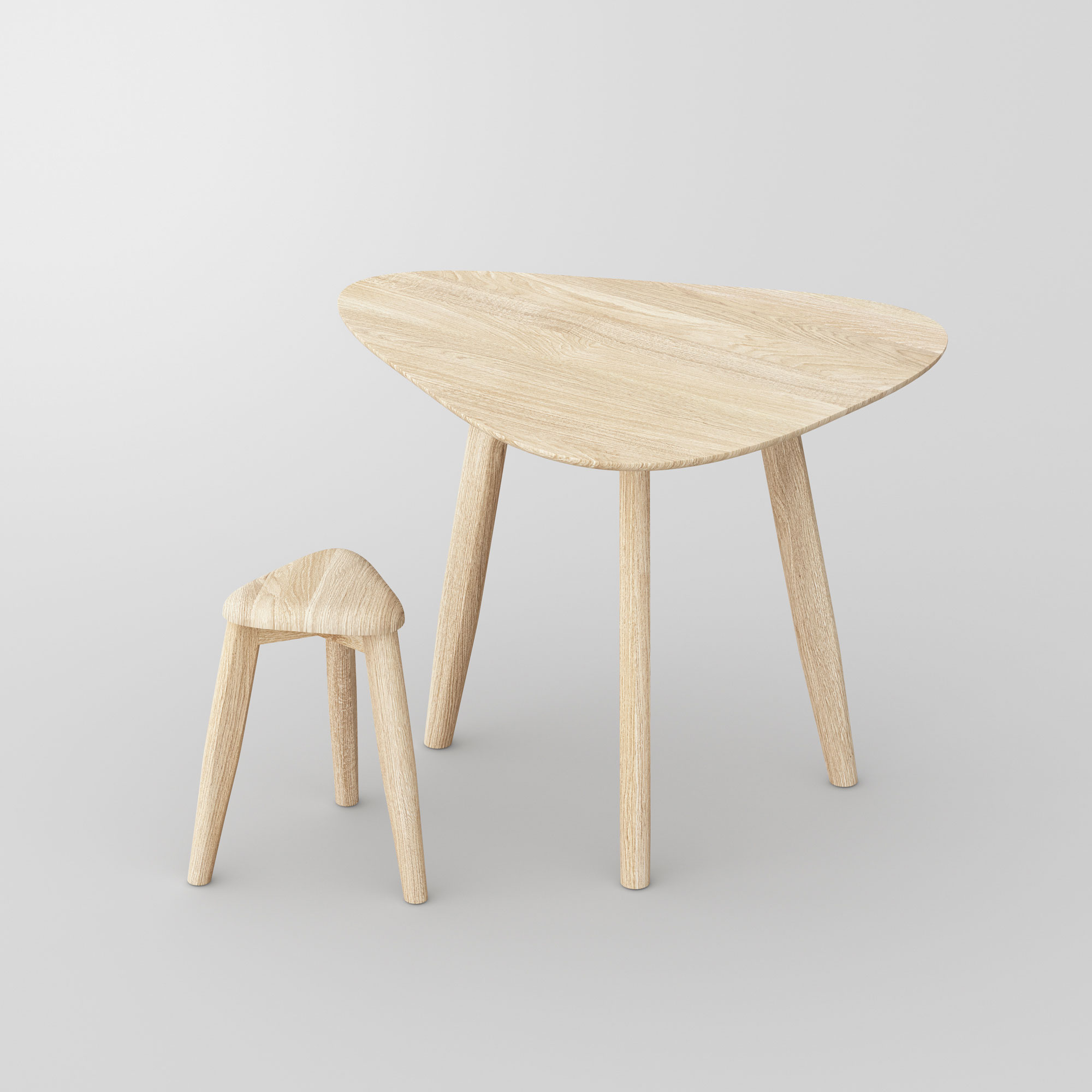 Triangle Wood Stool AETAS SPACE vitamin-design custom made in solid wood by vitamin design