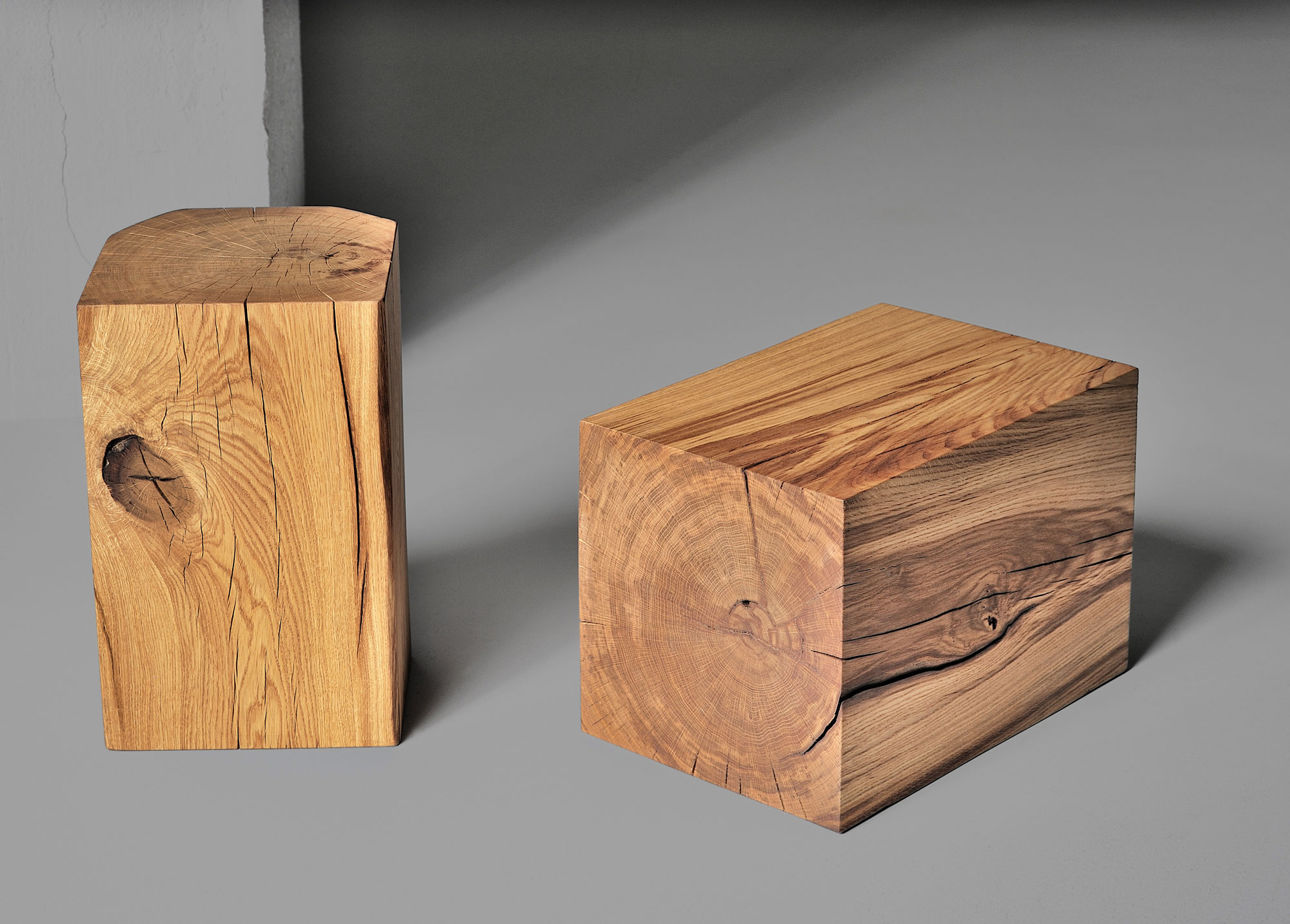 Tree Trunk Stool KLOTZ 2838 custom made in solid wood by vitamin design