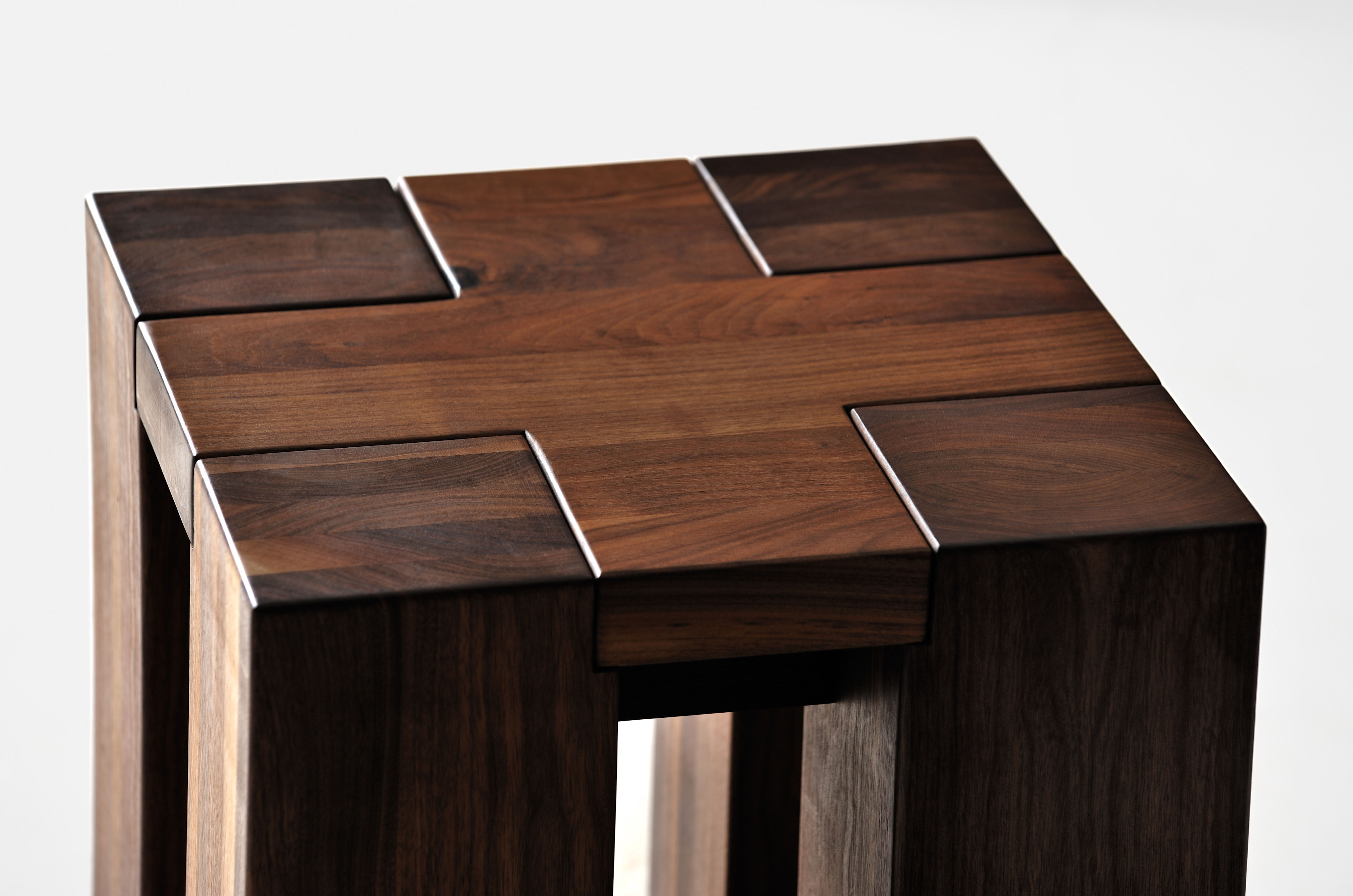 Rustic Oak Stool TAURUS 4 B14X14 tt44b custom made in solid wood by vitamin design
