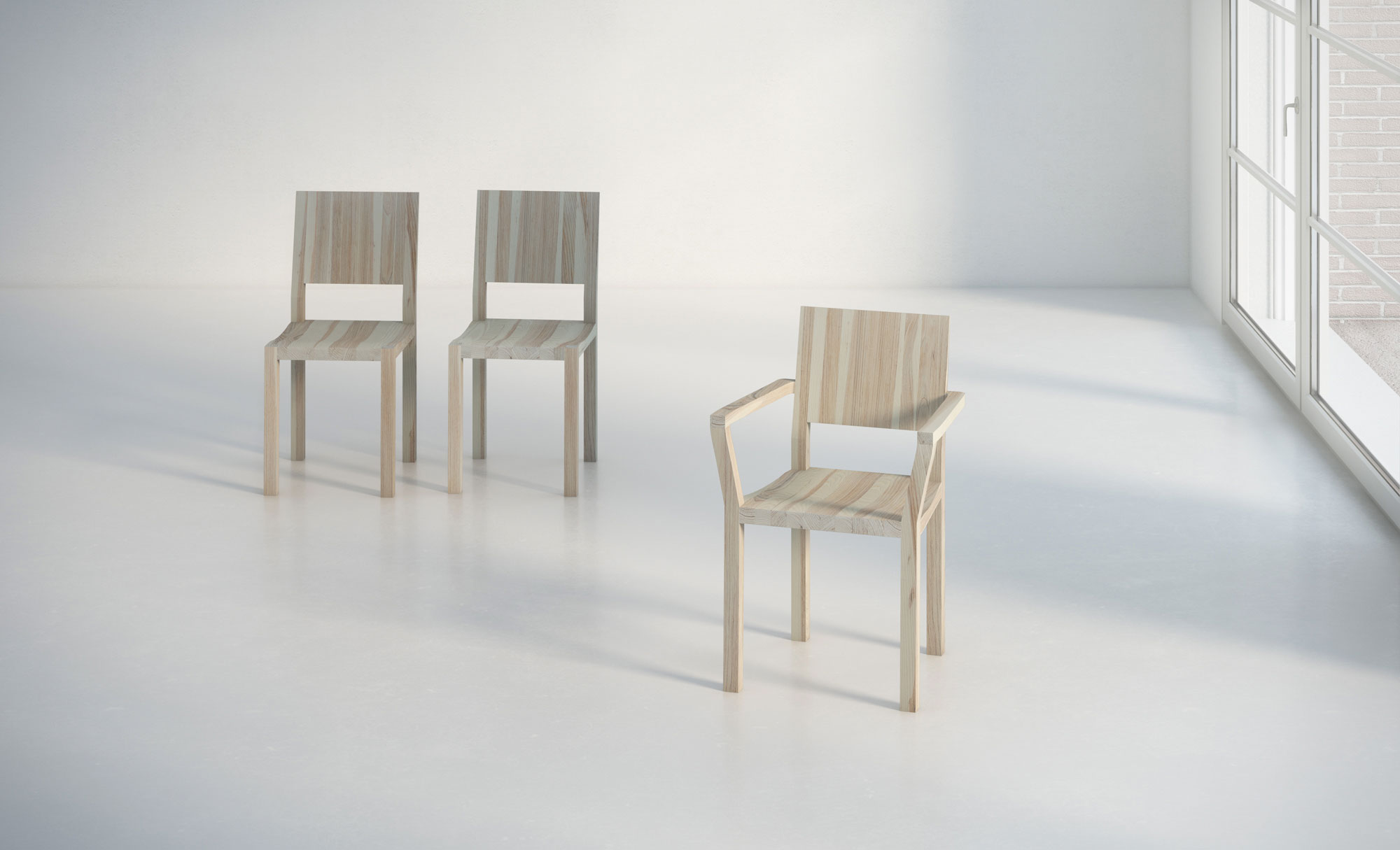Solid Wood Armchair TAU-A studio custom made in solid wood by vitamin design