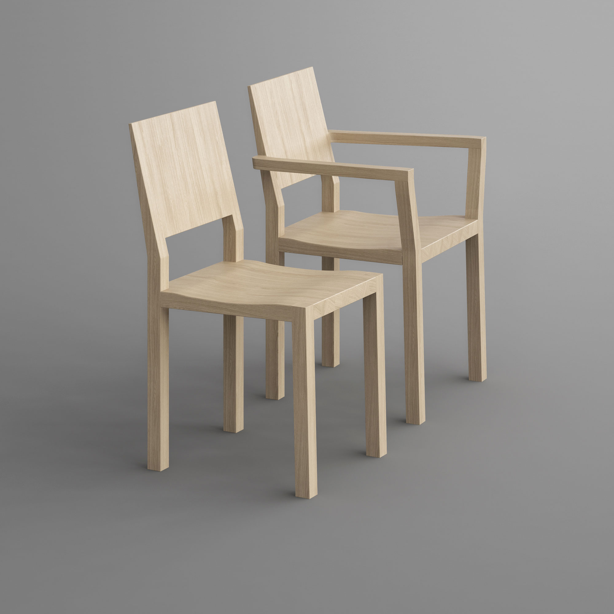 Solid Wood Armchair TAU-A pp custom made in solid wood by vitamin design