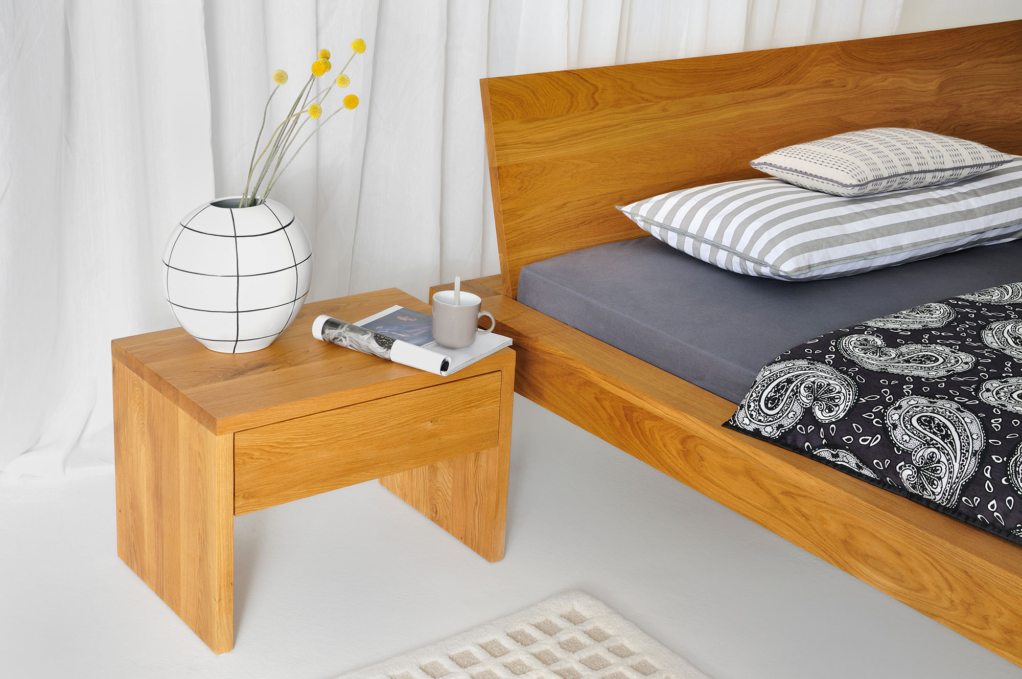 Rustic Oak Bed TAURUS 6328 custom made in solid wood by vitamin design