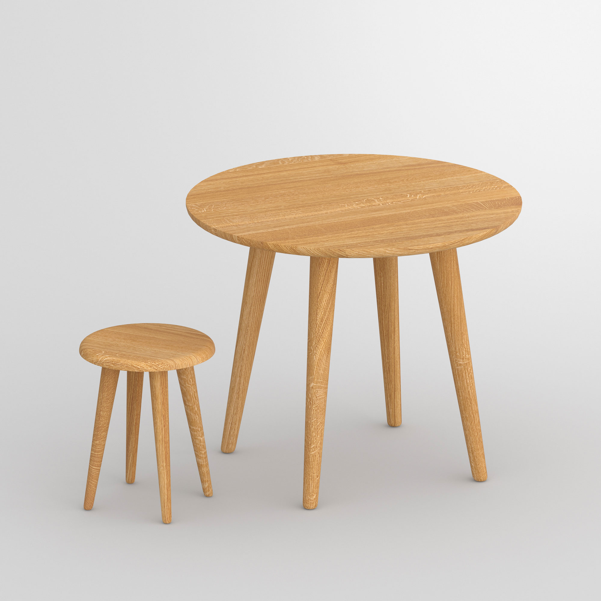 Round Wood Stool AMBIO ROUND vitamin-design custom made in solid wood by vitamin design