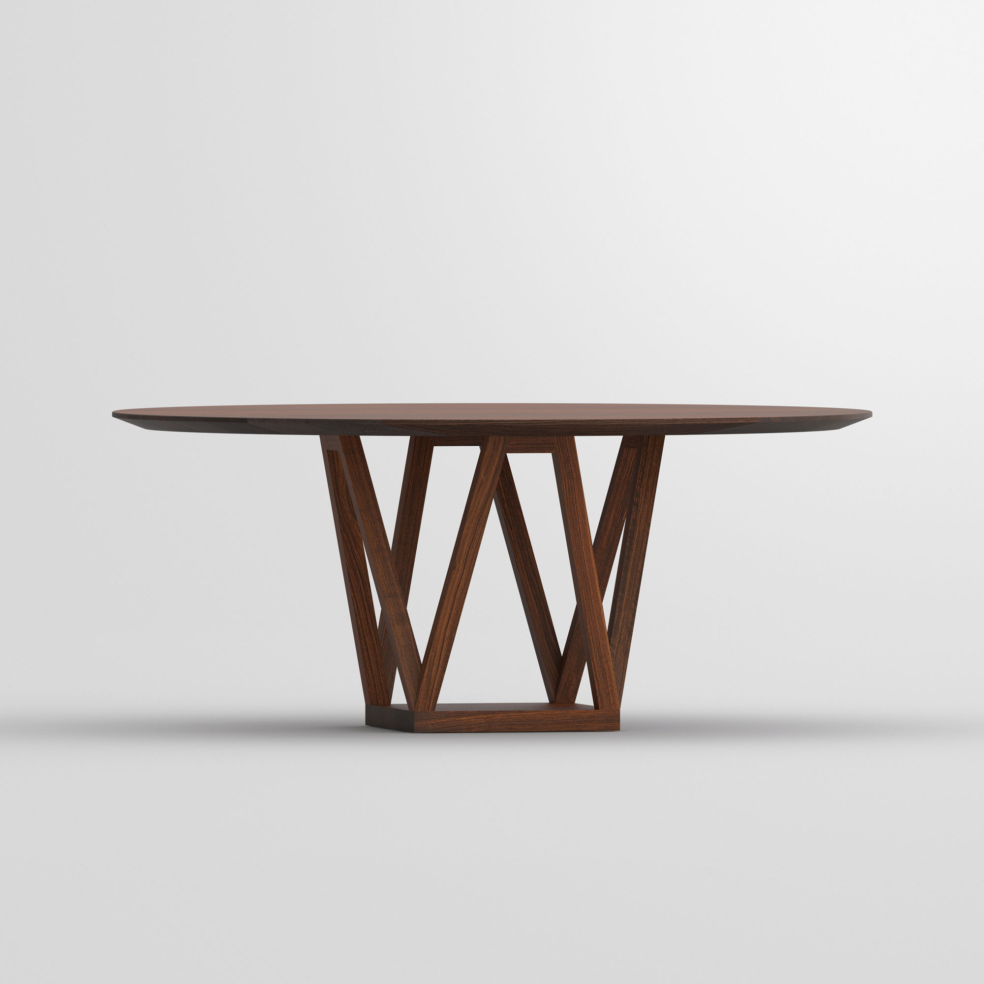 Round Designer Table CREO cam2 custom made in solid wood by vitamin design