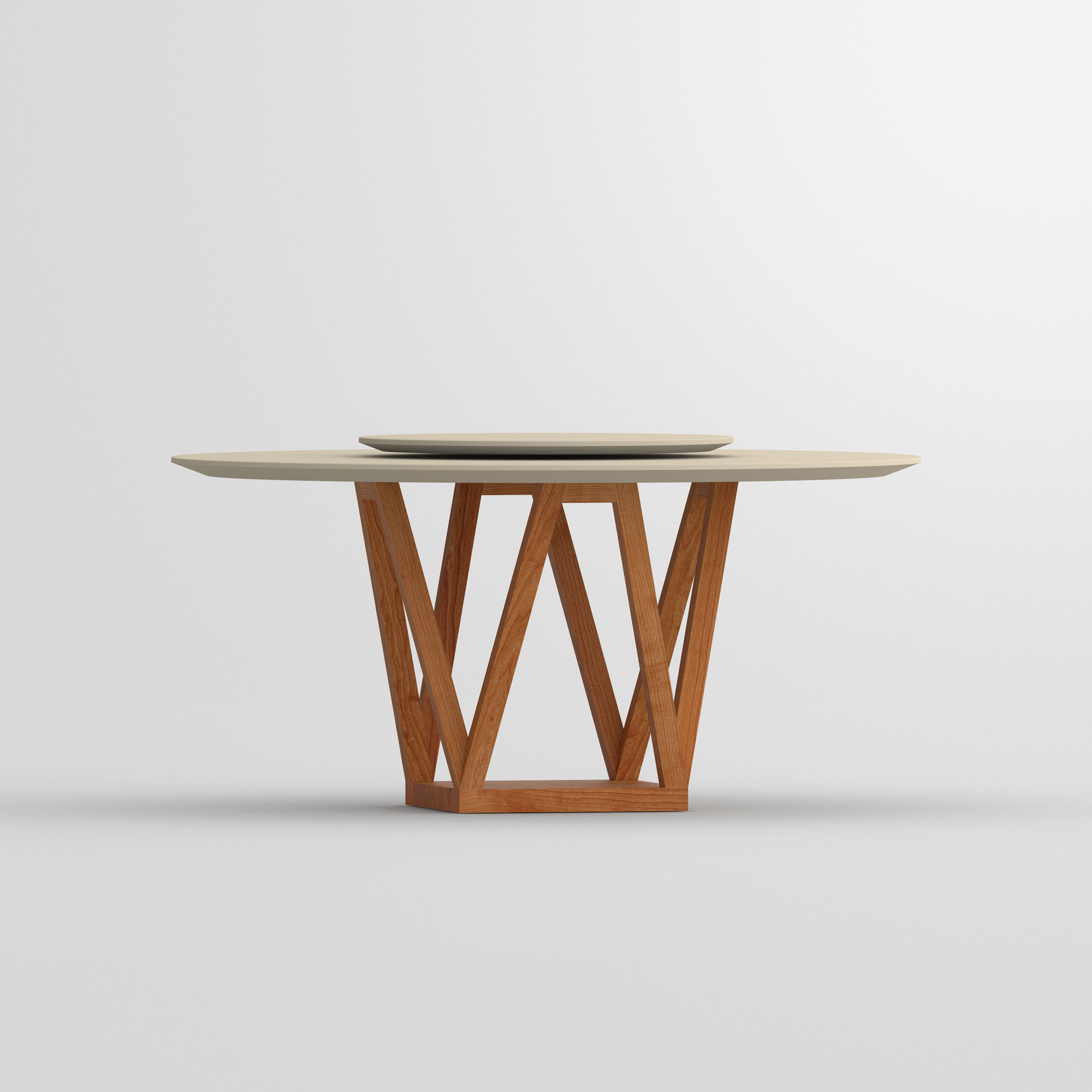 Linoleum Design Table CREO LINO cam2 custom made in solid wood by vitamin design