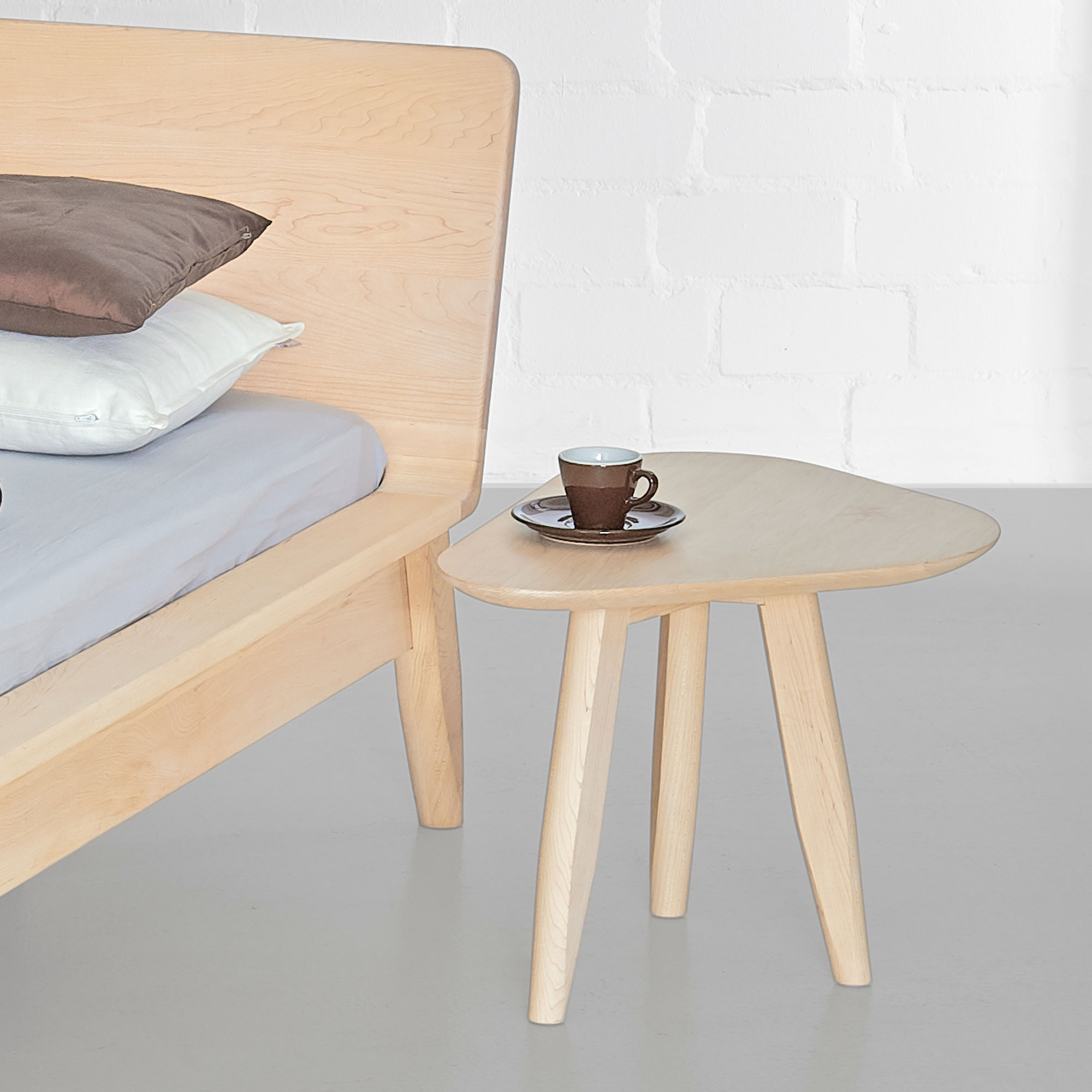 Design Side Table Night table AETAS SPACE cut custom made in solid wood by vitamin design