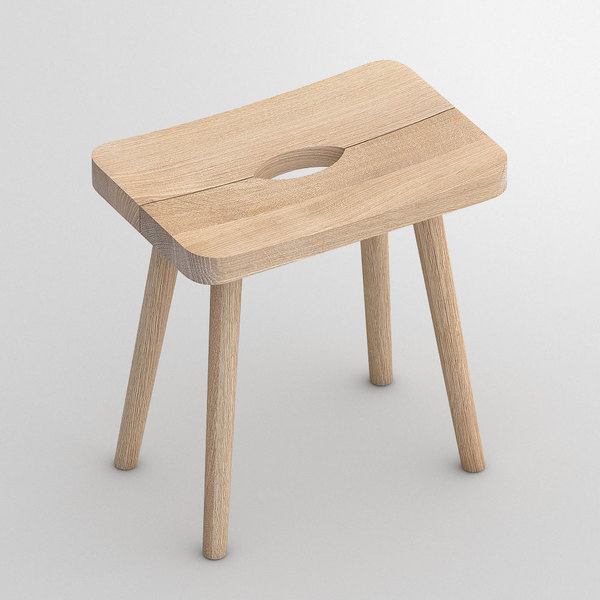 Wood Stool UNA cam1 custom made in Solid oak, chalked by vitamin design