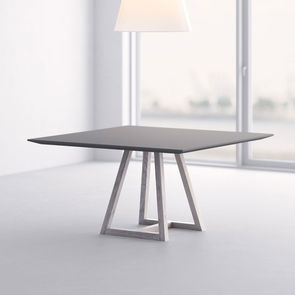 Linoleum table MARGO SQUARE LINO cam1 custom made in solid wood by vitamin design