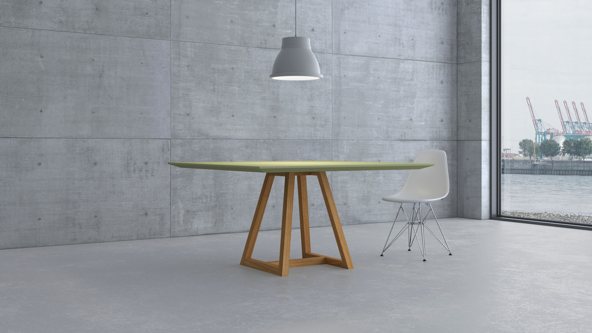 Linoleum table MARGO SQUARE LINO cam1-kalend custom made in solid wood by vitamin design