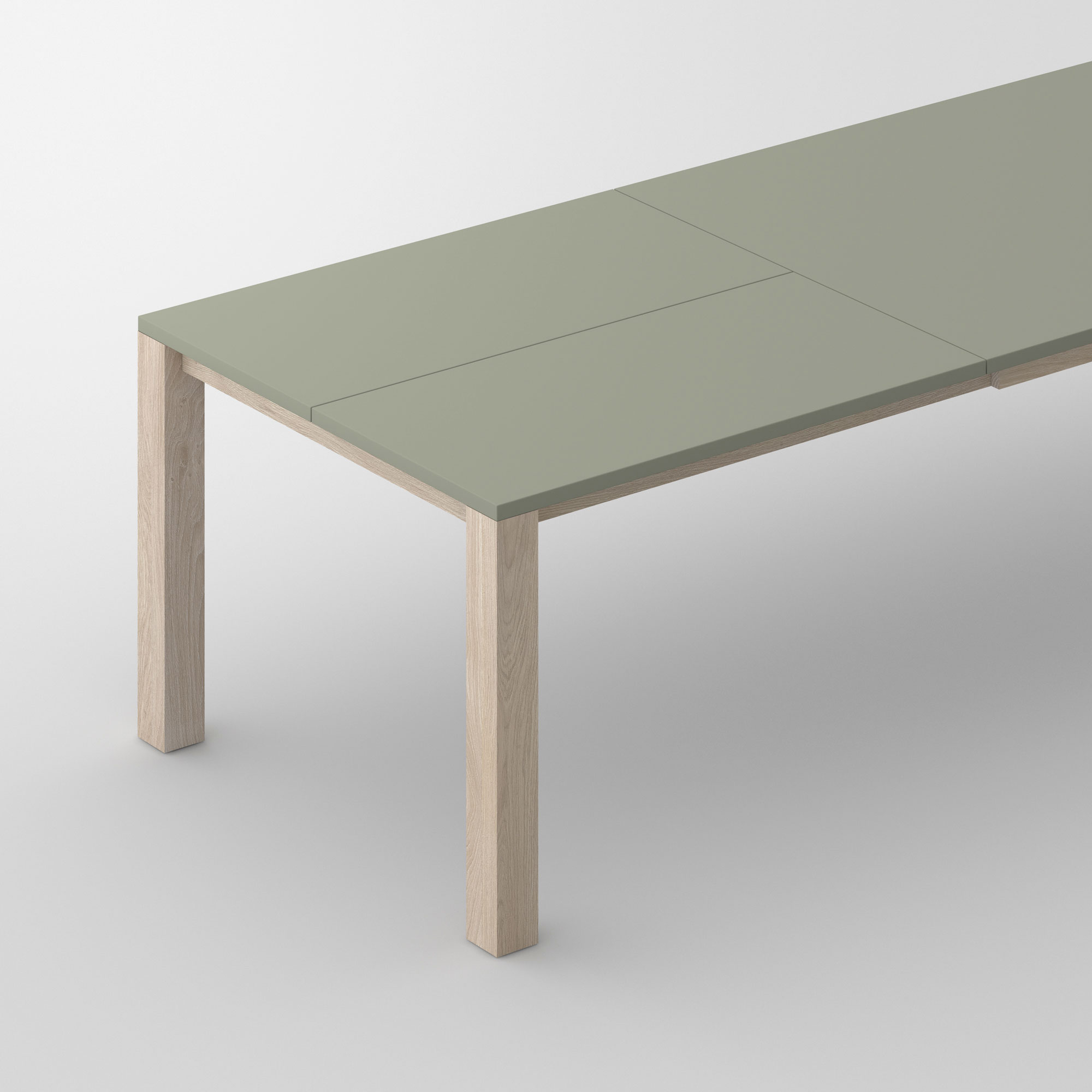 Extensible Linoleum Wood Table VARIUS BUTTERFLY LINO cam1 custom made in solid wood by vitamin design