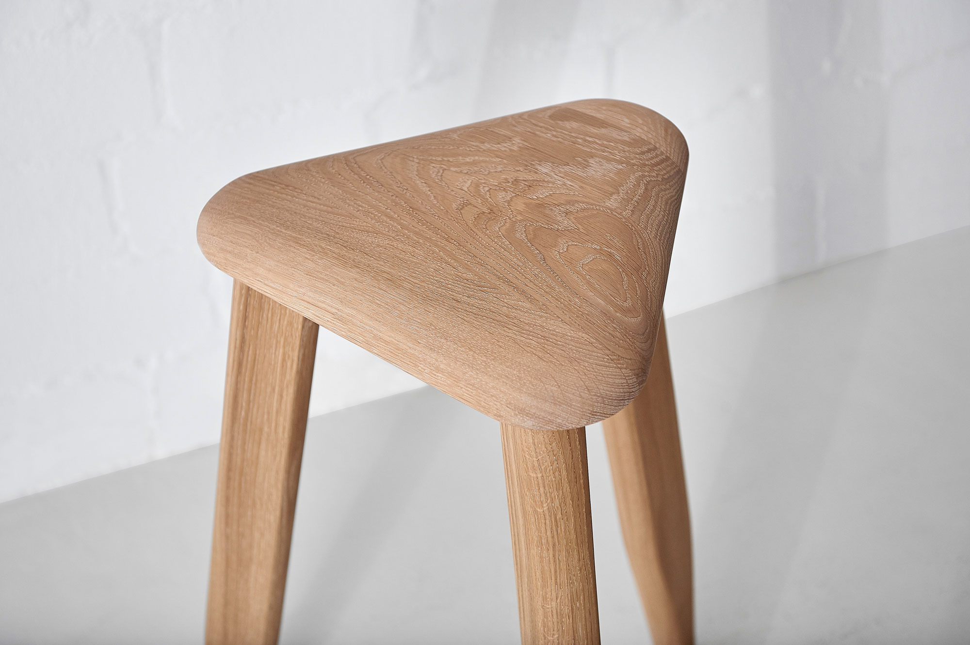 Triangle Wood Stool AETAS SPACE Edited custom made in solid wood by vitamin design